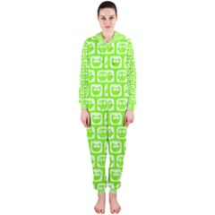 Lime Green And White Owl Pattern Hooded Jumpsuit (Ladies)