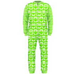 Lime Green And White Owl Pattern OnePiece Jumpsuit (Men)