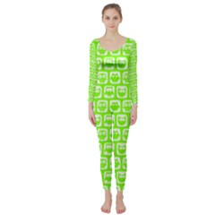 Lime Green And White Owl Pattern Long Sleeve Catsuit