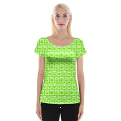 Lime Green And White Owl Pattern Women s Cap Sleeve Top