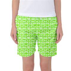 Lime Green And White Owl Pattern Women s Basketball Shorts