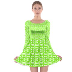 Lime Green And White Owl Pattern Long Sleeve Skater Dress