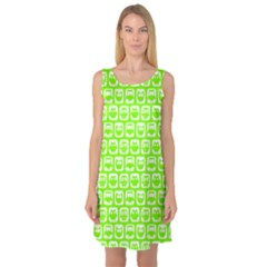 Lime Green And White Owl Pattern Sleeveless Satin Nightdresses