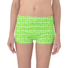 Lime Green And White Owl Pattern Boyleg Bikini Bottoms