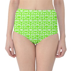 Lime Green And White Owl Pattern High Waist Bikini Bottoms