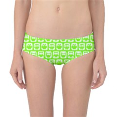 Lime Green And White Owl Pattern Classic Bikini Bottoms