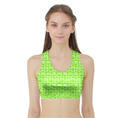 Lime Green And White Owl Pattern Women s Sports Bra with Border
