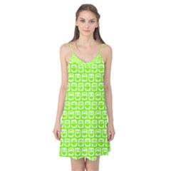 Lime Green And White Owl Pattern Camis Nightgown