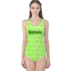 Lime Green And White Owl Pattern Women s One Piece Swimsuits