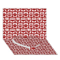 Red And White Owl Pattern Heart Bottom 3D Greeting Card (7x5)