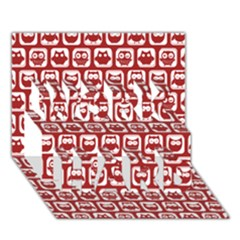 Red And White Owl Pattern WORK HARD 3D Greeting Card (7x5)