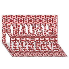 Red And White Owl Pattern Laugh Live Love 3d Greeting Card (8x4)