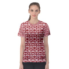 Red And White Owl Pattern Women s Sport Mesh Tees