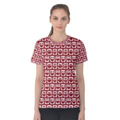 Red And White Owl Pattern Women s Cotton Tees