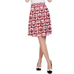 Red And White Owl Pattern A-Line Skirts