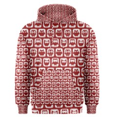 Red And White Owl Pattern Men s Pullover Hoodies