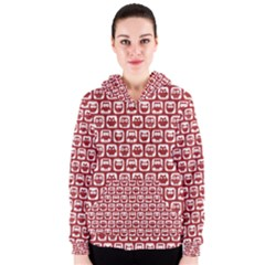 Red And White Owl Pattern Women s Zipper Hoodies