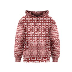 Red And White Owl Pattern Kids Zipper Hoodies