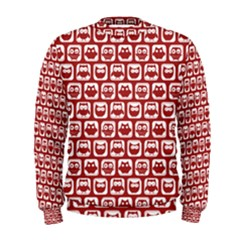 Red And White Owl Pattern Men s Sweatshirts