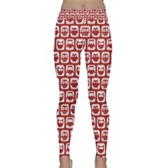 Red And White Owl Pattern Yoga Leggings