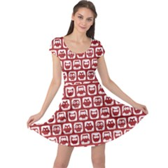 Red And White Owl Pattern Cap Sleeve Dresses