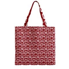 Red And White Owl Pattern Zipper Grocery Tote Bags