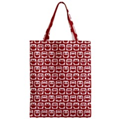 Red And White Owl Pattern Zipper Classic Tote Bags