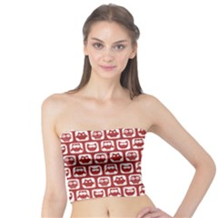 Red And White Owl Pattern Women s Tube Tops
