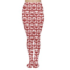 Red And White Owl Pattern Women s Tights