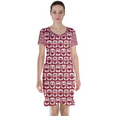 Red And White Owl Pattern Short Sleeve Nightdresses