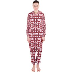 Red And White Owl Pattern Hooded Jumpsuit (Ladies)