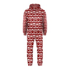 Red And White Owl Pattern Hooded Jumpsuit (Kids)