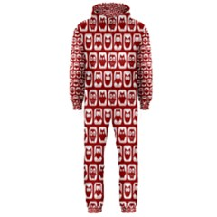 Red And White Owl Pattern Hooded Jumpsuit (Men)