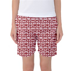 Red And White Owl Pattern Women s Basketball Shorts