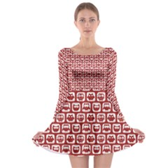 Red And White Owl Pattern Long Sleeve Skater Dress