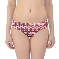 Red And White Owl Pattern Hipster Bikini Bottoms