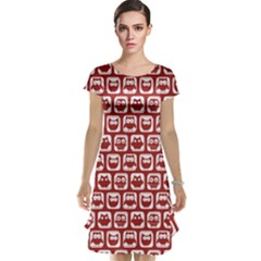Red And White Owl Pattern Cap Sleeve Nightdresses
