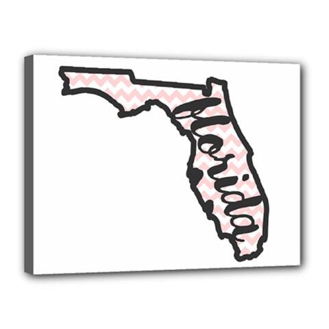 Florida Map Pride Chevron Canvas 16  X 12