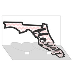 Florida Map Pride Chevron Twin Heart Bottom 3D Greeting Card (8x4)
