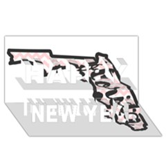 Florida Map Pride Chevron Happy New Year 3D Greeting Card (8x4)