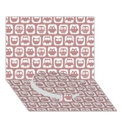 Light Pink And White Owl Pattern Circle Bottom 3d Greeting Card (7x5)