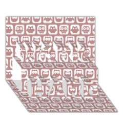 Light Pink And White Owl Pattern Work Hard 3d Greeting Card (7x5)