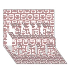 Light Pink And White Owl Pattern Take Care 3d Greeting Card (7x5)
