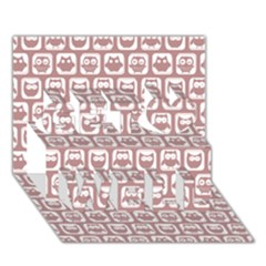 Light Pink And White Owl Pattern Get Well 3d Greeting Card (7x5)