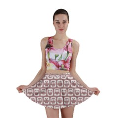 Light Pink And White Owl Pattern Mini Skirts
