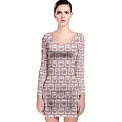 Light Pink And White Owl Pattern Long Sleeve Bodycon Dresses