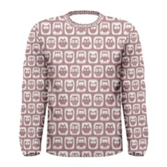 Light Pink And White Owl Pattern Men s Long Sleeve T-shirts