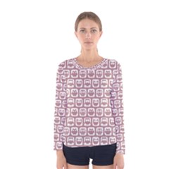 Light Pink And White Owl Pattern Women s Long Sleeve T Shirts
