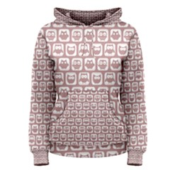 Light Pink And White Owl Pattern Women s Pullover Hoodies