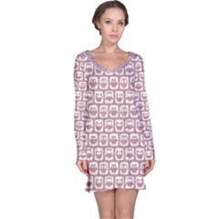 Light Pink And White Owl Pattern Long Sleeve Nightdresses